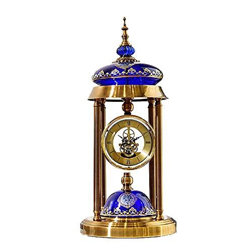 Reloj para chimenea, reloj digital romano, chapado en cobre, cerámica, estilo retro europeo y americano, adecuado para decorar sala de estar, chimenea, escritorio, 64 x 26 cm (Colo