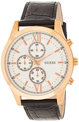 Guess Herren Chronograph Quarz Uhr mit Leder Armband W0876G2