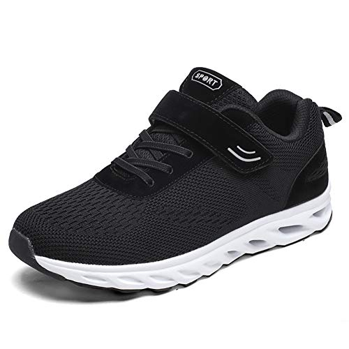 Leader Show Men's Casual Elderly Safety Walking Shoes Light Weight Strap Comfort Sneakers (9.5, Black)