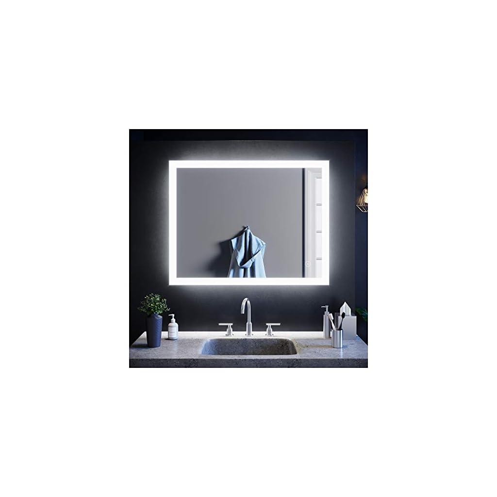 SIRHONA LED Miroir Salle de Bain 90×70 cm Miroir LED AVCE Anti-buée et éclairage intégré Blanc Froid