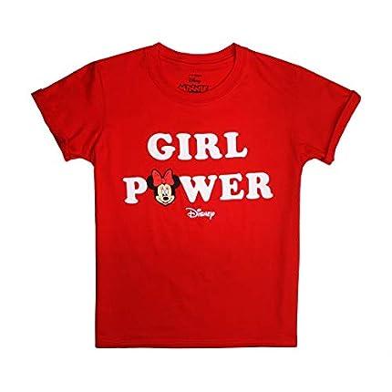 Disney Minnie Mouse-Girl Power Camiseta, Rojo (Red Red), 12-14 Años para Niñas