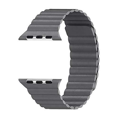WAY-KE Correa De Cuero Ajustable con Sistema De Cierre Magnético para La Serie Iwatch 5/4/3/2/1 Compatible con Apple Watch Band 44Mm 42Mm 40Mm 38Mm,Gris,42MM