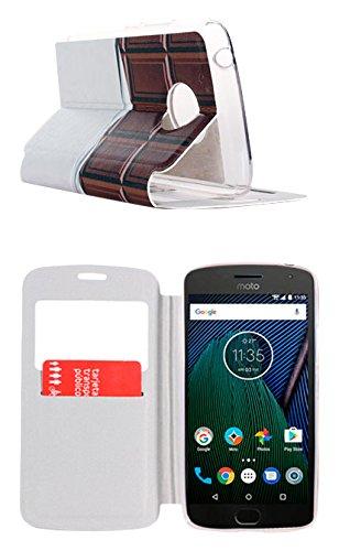 Beschermhoes voor Moto G5, S-View, met standfunctie en klep, motief chocolade-tablet
