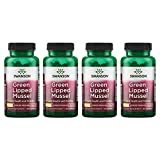 Swanson Green Lipped Mussel (Freeze Dried) New Zealand Joint Health Supplement 500 mg 60 Capsules 4 Pack