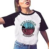 Camiseta Stranger Things Mujer, Camiseta Stranger Things Niña Manga Corta Retro tee Ringer T Shirt Abecedario Impresión T-Shirt Regalo Camisa Verano Camisetas y Tops