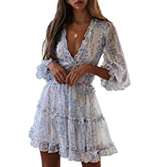 💋FEATURES: Our backless dress has ruffles trim details, which forms a deep v neckline. Featuring floral printed, long sleeve, skater swing chiffon dress, open back, fitted bodice, ruffles trim and swing hem 💋FASHION DESIGN & FITS PERFECTLY: Indulge y...