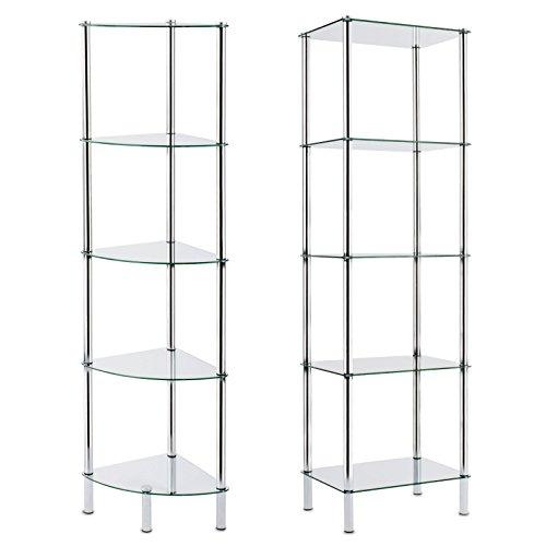 casa pura® Glasregal Gina | mit 5 Böden aus Sicherheitsglas | ideal passend zum Glaseckregal Diana | 40x30x134cm