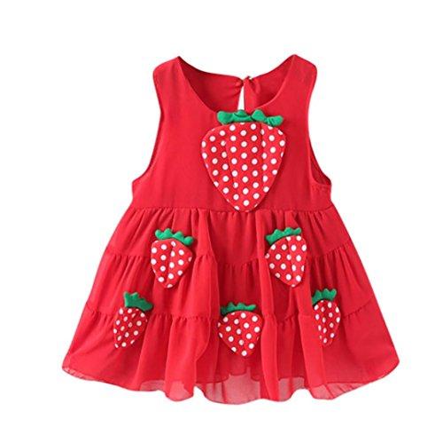 URSING Baby Mädchen Erdbeere Applikationen Freizeitkleid Prinzessinenkleid Strandkleid Schöne Sundress Chic Sommerkleider Babymode Babykleid Festliche Kleid Babykleidung (80CM 6-12 Monate, Rot)