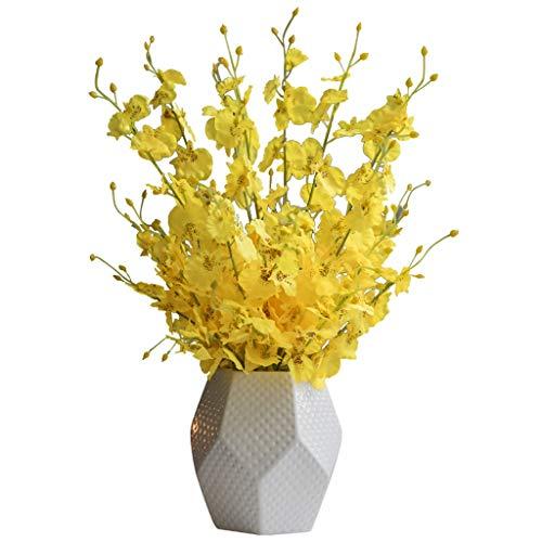 GCX Natural Falso Baile Amarillo de la Flor de la orquídea Simulación Adornos Sala de Estar Mesa de Comedor Falsa decoración de la Flor Ramo Calentar (Color : 5 Bunch of Fake Flowers+Vase)