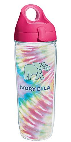 Tervis Ivory Ella Vaso aislado, Plástico, Split Rainbow Tie Dye
