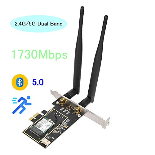 Tosuny WLAN PCI-E netwerkkaart Bluetooth 5.0 WiFi-kaart PCIE-adapter netwerkkaart + antenne voor desktop-pc Windows 10