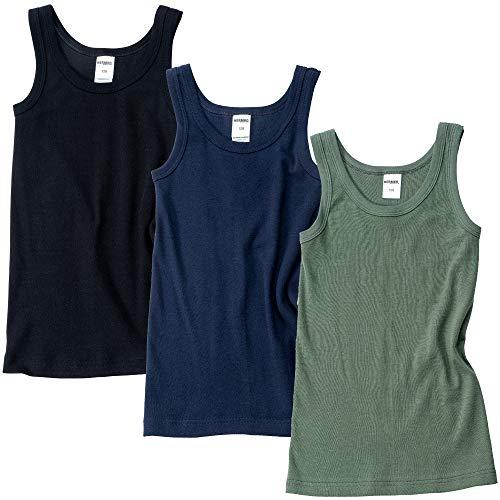 HERMKO 2800 3er Pack Jungen Achselhemden aus 100% Bio-Baumwolle, Größe:104, Farbe:Mix s/m/o