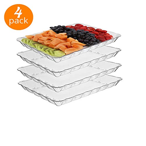 """silver collection Rectangular Plastic Trays, disposable serving Party Platters 9"""" X 13"""" -pack of 4- (Clear)"""