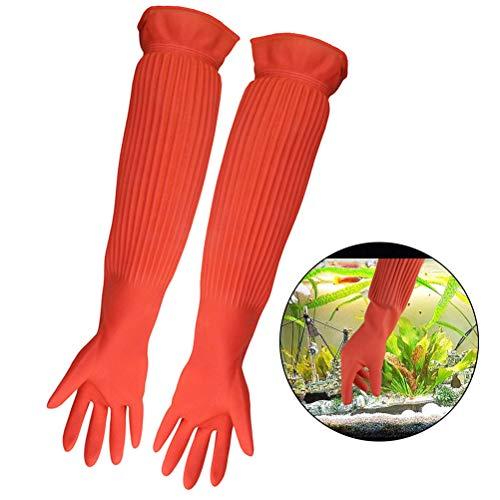ASOCEA Aquarium Onderhoud Handschoenen Waterdichte Latex Herbruikbare Fish Tank Reinigingsgereedschap Voorkomt besmetting Allergieën - 1 Paar Oranje
