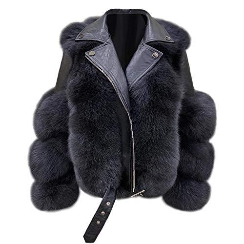 WFE&QFN Chaqueta de plumas2020 Abrigo para Mujer de Invierno Chaqueta de Cuero Natural Traje de Motorista