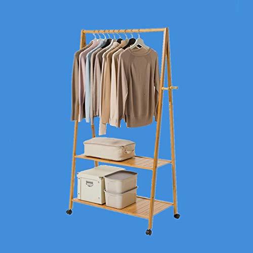 Zcyg Perchero de madera maciza con zapatero y ruedas, moderno colgador para abrigos, para pasillo, dormitorio, recepción (tamaño: 60 x 165 cm)