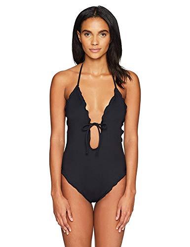 La Blanca Women's Tie Front Keyhole Halter One Piece Swimsuit, Black/Plaza De Espana, 10