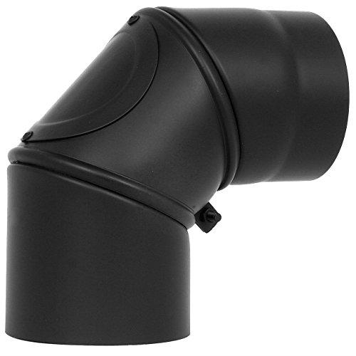 Bogen im 90° Winkel DREHBAR mit Reinigungsöffnung Ø 120 mm Schwarz Kamin