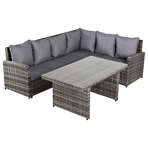 Outsunny 3 PCS PE Rattan Corner Dining Set Outdoor Garden Patio Sofa Table Furniture Set w/Cushions Grey