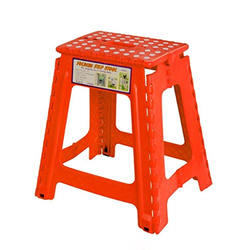CRTDS Hochhocker tragbarer Outdoor-Klappstuhl zur einfachen Aufbewahrung 28,3x21,4x31,7 cm Haushaltshocker und Dicker Kunststoffhocker Hochstuhl (Color : Red)