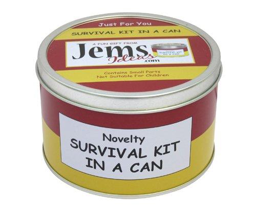 Jemsideas Kit de survie Survival Kit In A Can et carte de souhait pour nouvel appartement/maison Couleur du contenant personnalisable Noir/vert menthe
