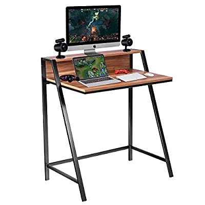 Tangkula Gaming Desk, 2 Tier Computer Desk, Home Office Wood Sturdy Frame Compact Writing Table for Small Place, Apartment Dom Office Furniture Sofa Bed Table, Study Writing Table from Tangkula