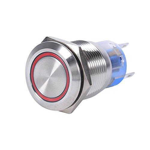 Interruptor de botón de metal, impermeable de acero inoxidable de 12 V LED, interruptor de encendido y apagado, interruptor de botón de bloqueo automático, 1NO1NC (rojo 2 piezas)