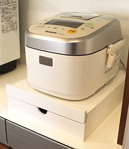 オスマック スライドトレー スライドテーブル 家電下 炊飯器下 ラック キッチン 収納用品 ホワイト 幅30×奥行40cm 引出し付き YSHK-30402W