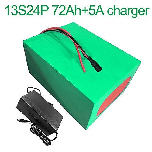 Met 5A oplader 48V 72Ah 13S24P Li-ion Batterij  E-Bike Ebike elektrische fiets 260x245x140mm accu