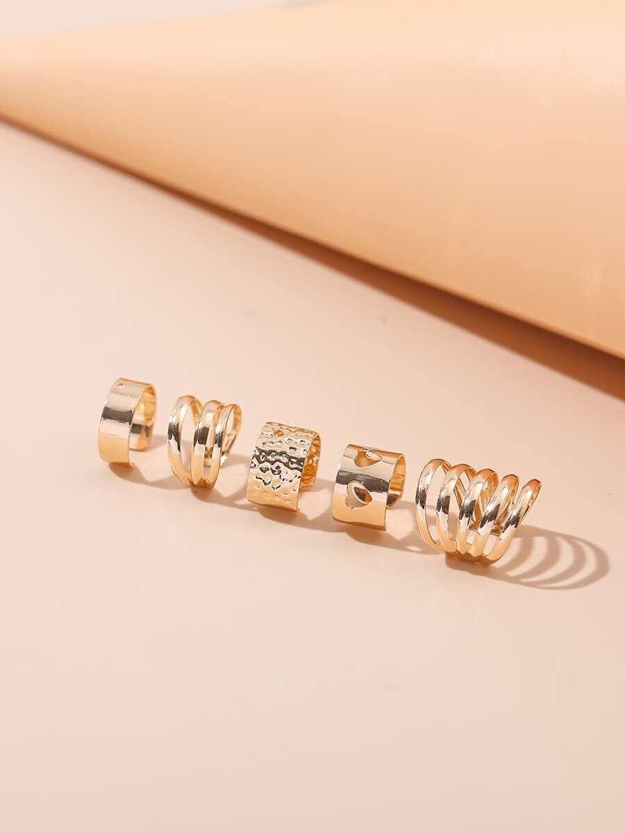 FYJIDY Hoop Earrings 5pcs Hollow Out Ear Cuff (Color : Gold)