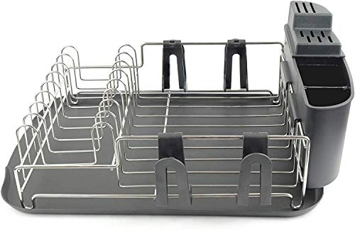 Cookware Drying Rack  Dish Draining Set With Black Drainboard  Removable Compact Utensil Holder  4 Separate Cup Holding Attachment  Rustproof Stainless Steel Wire