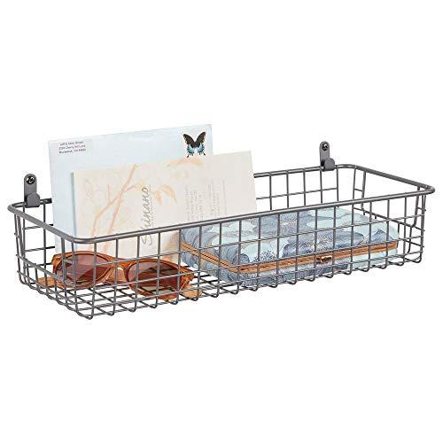 mDesign Estante de pared de metal – Estantería de rejilla pequeña para dormitorio, cocina y otras habitaciones – Organizador de cartas, carteras, gafas de sol o accesorios de baño – gris