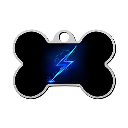 Blue Lighting Flash Dog Tag Pet ID Tags Puppy Cat Bone Shaped Zinc Alloy Identity Pendant Trendy Nacklace Double Sided Printed - DIY Design