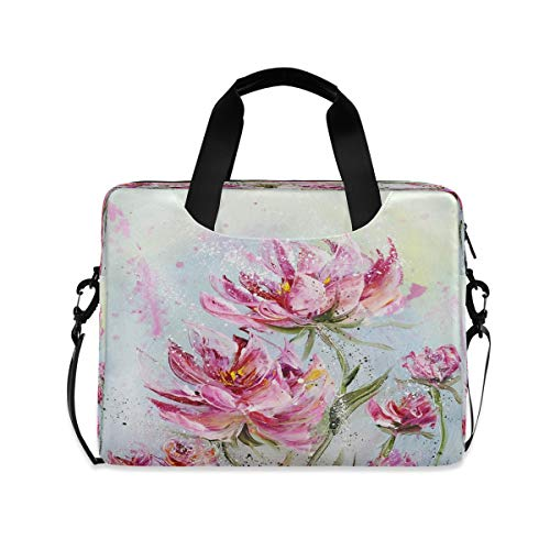 Unique Pink Peonies Flower Floral Laptop Case 15.6 Inch Carrying Protectiv Case with Strap