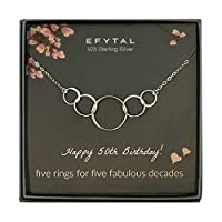 EFYTAL 50歳の誕生日ギフト スターリングシルバー 5つのサークルネックレス 50歳のジュエリー