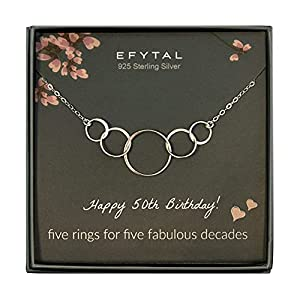 Sterling Silver 5 Rings Five Decades Necklace With Special Card Unique Piece Of Jewelry