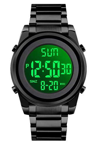 Reloj Digital Hombre 30M Impermeable Deportivos Relojes Hombres Acero Inoxidable Relojes de Pulsera con LED/Alarma/Temporizador/Cronómetro Negro