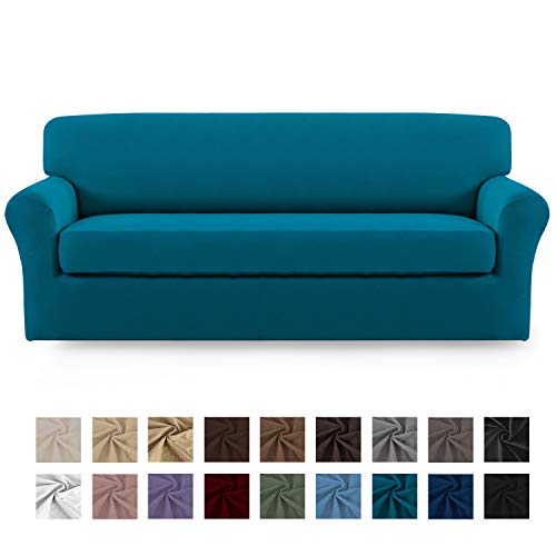 Easy-Going 2 Pieces Microfiber Stretch Sofa Slipcover – Spandex Soft Fitted Sofa Couch Cover, Washable Furniture Protector with Elastic Bottom for Kids,Pet (Oversized Sofa, Peacock Blue)