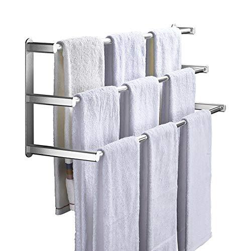 toalleros de 3 Barras baldas baño de Pared toallero sin Taladro Adhesivo de Aluminio Gran Capacidad de Carga para balcón de baño-Plata_Los 61cm