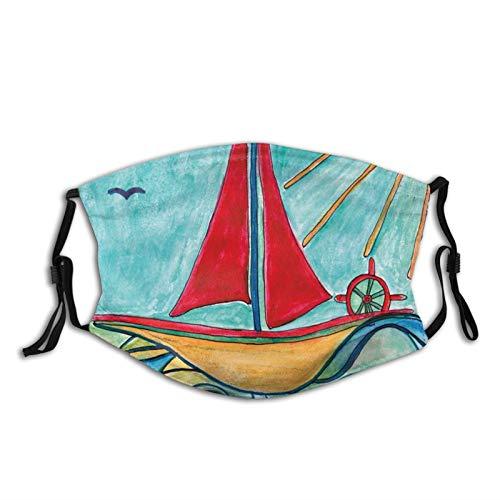 Balaclavase, Balaclava, Balaclava, Balaclava, für Jungen und Mädchen, Motiv: Schiff in den Wellen des Ozeans, für Kinder und Mädchen, wiederverwendbar, waschbar