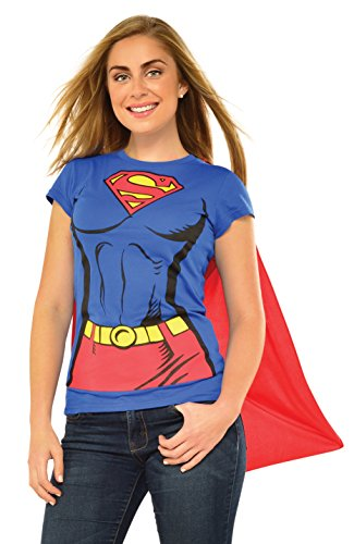 Women's DC Comics Supergirl Costume T-shirt with Cape, 4 Sizes, S to XL