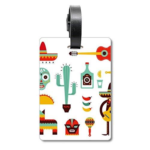 Sombrero Tequila Gitarre Chili Mexiko Elment Cruise Koffer Bag Tag Tourister Identification Label