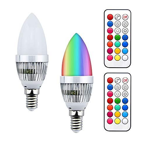 Bonlux RGB E14 LED Kerzenlampe 3W Dimmbar Kerze Birne 220V C35 RGB+WW Glühbirne 16 Farbwechsel Spot Leuchtmittel 120° mit IR-Fernbedienung als Stimmung Beleuchtung für Party Disco (2Stück, Dimmbar)