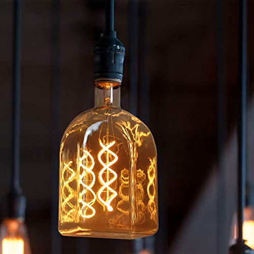 GBLY LED Glühbirne E27 Groß Vintage Glühlampe 4W in Backsteinform als Pendelleuchte Dekorative Spiralfilament Beleuchtung für Haus Café Bar Restaurant, 2200K Warmweiß, Goldfarbe, 22 * 10.5 * 7cm