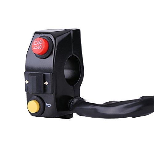 """Interruttore Manubrio per Motociclette, Universale 7/8\""""Interruttori per Manubrio per Motocicletta Interruttore Elettronico per Frecce con Segnale Alto Raggio Basso(Black)"""