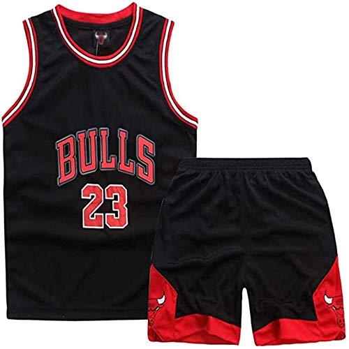 ccaat Basketball-Trikots Set für Kinder - Nr.23 Bulls Jordan Kinder Basketballanzug Basketball Trikots Jersey Set für Kid Jungen Mädchen (L(Höhe:140-150CM), Bulls Black)