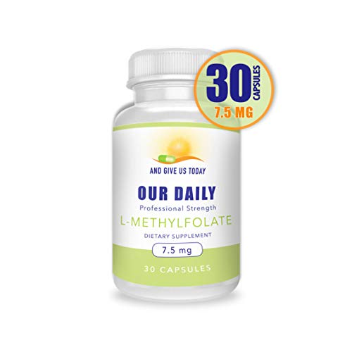 Our Daily Vites L-Methylfolate 7.5 mg 7500 mcg Maximum Strength Active Folate, 5 MTHF, Non-GMO, Vegetarian Capsules 30 Count (1 Month Supply)