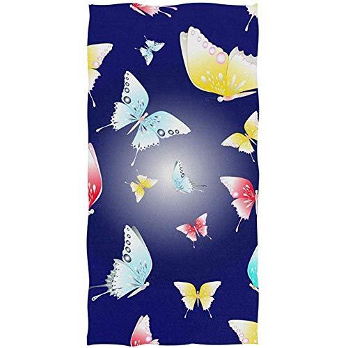 mallcentral-EU Handtuch Badetuch Schmetterling Navy Floral für Face Sports Gym