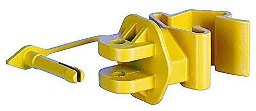 Kerbl 100 Stück T-Post Pinlock Isolator Gelb für Seil Litze Draht Weidezaun Klippsystem