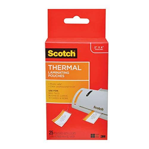 Scotch Thermal Laminating Pouches, 2.48 in x 4.21 in, Luggage Tag Size with Loop, 25 Pouches (TP5853-25)